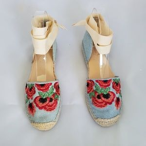 Jessica Simpson Embroidered Ankle Wrap Espadrilles